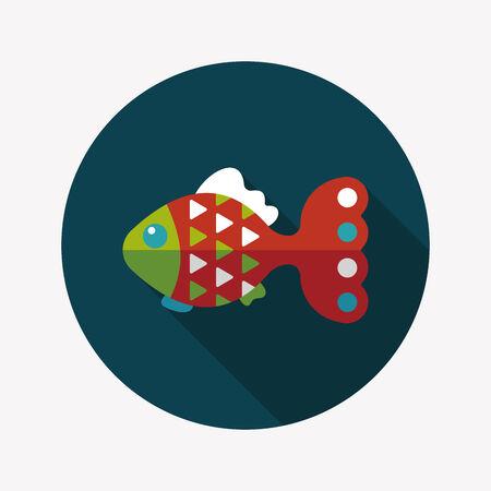 pet fish: Pet icona di pesce piatto con una lunga ombra