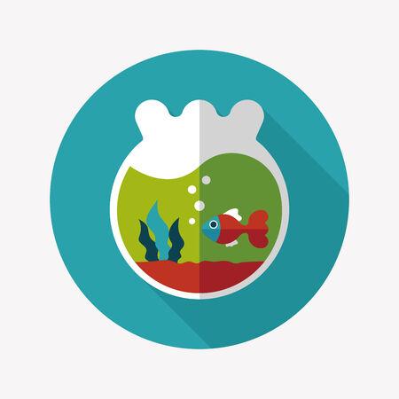Pet goldfish bowl flat icon with long shadow Illustration