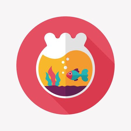 gold fish bowl: Pet goldfish bowl flat icon with long shadow Illustration