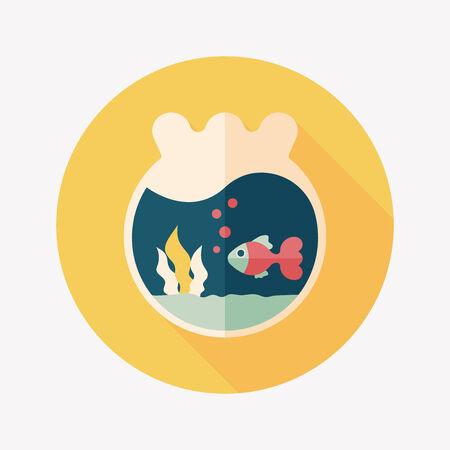goldenfish: Pet goldfish bowl flat icon with long shadow Illustration