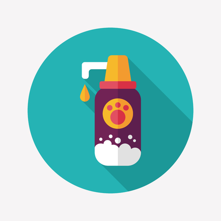 Pet shampoo flat icon with long shadow Vector