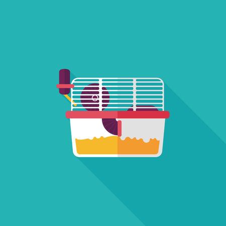 Pet mouse cage flat icon with long shadow,eps10 Illusztráció