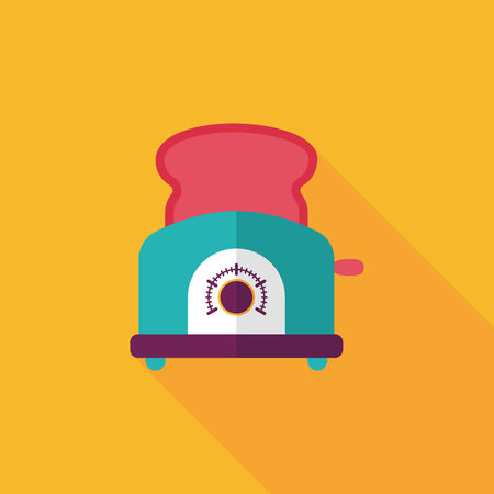 toasted bread: kitchenware toaster flat icon with long shadow Illustration