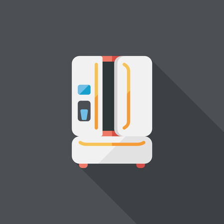 coolness: Kitchenware refrigerator flat icon with long shadow