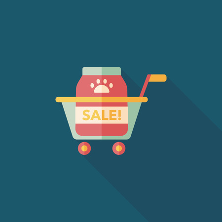 Pet sale shopping flat icon with long shadow,eps10 Vector