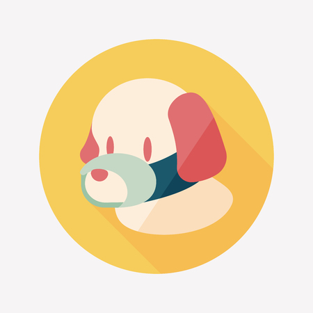 face covered: Pet dog mouth cover flat icon with long shadow Illustration