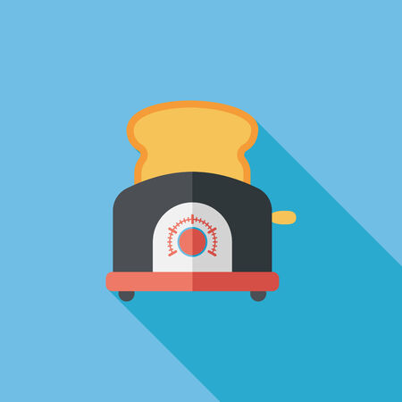 toasted: kitchenware toaster flat icon with long shadow Illustration