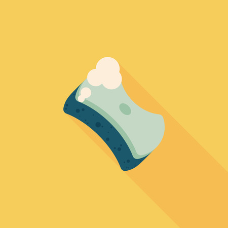 Kitchenware scouring pads flat icon with long shadow