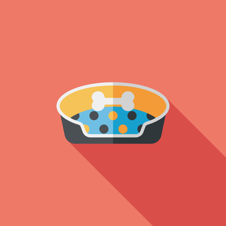 Pet bed flat icon with long shadow,eps10 Vector