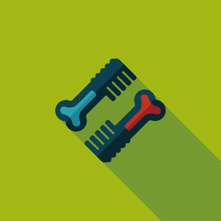 Pet dog brush flat icon with long shadow Vector