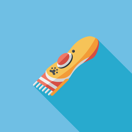 groomer: Pet shaving machine flat icon with long shadow
