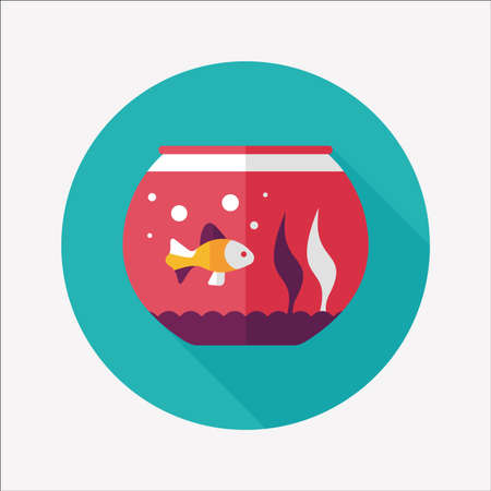 pet fish: Pet pesci icona piatto con una lunga ombra