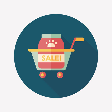 Pet sale shopping flat icon with long shadow Vector