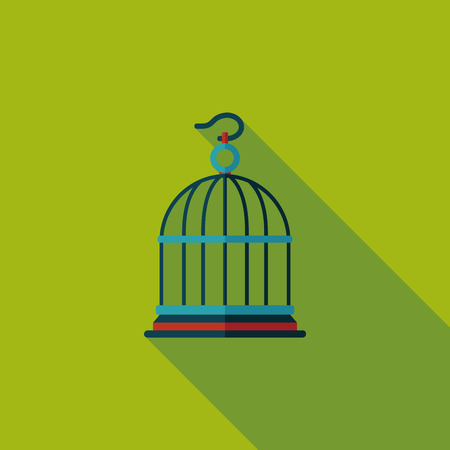 bird feathers: Pet bird cage flat icon with long shadow