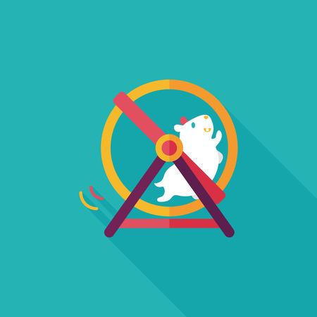 Pet Maus Übung Rad flach Symbol mit langen Schatten