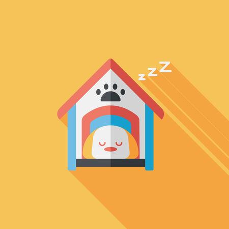casa de perro: Pet perro de la casa icono plana con larga sombra Vectores