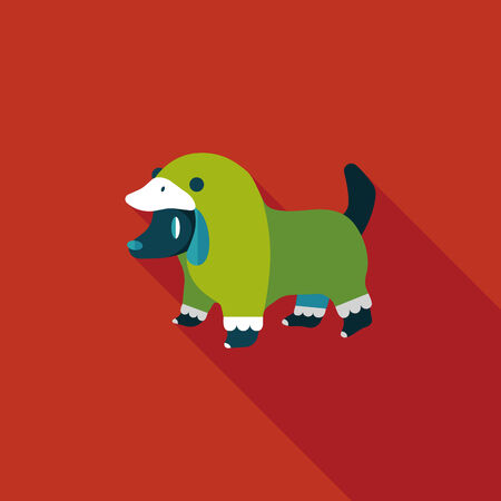 dog costume: Pet Clothes flat icon with long shadow