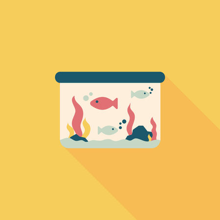 gold fish bowl: Pet fish flat icon with long shadow