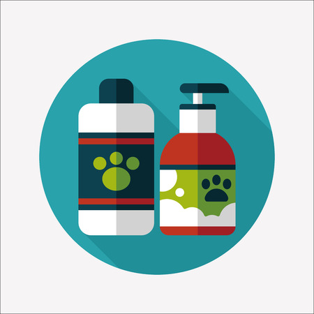 Pet shampoo flat icon with long shadow,eps10 Vector