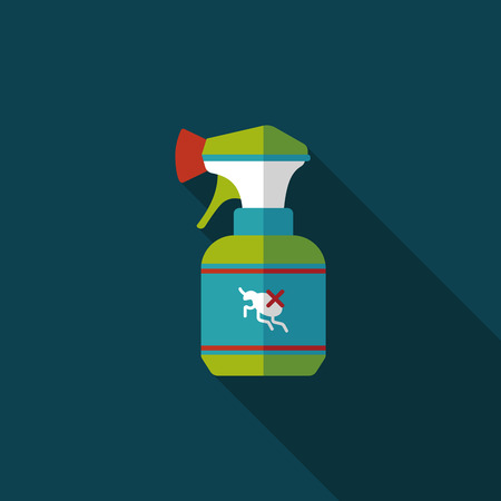 flea: Pet flea spray flat icon with long shadow Illustration