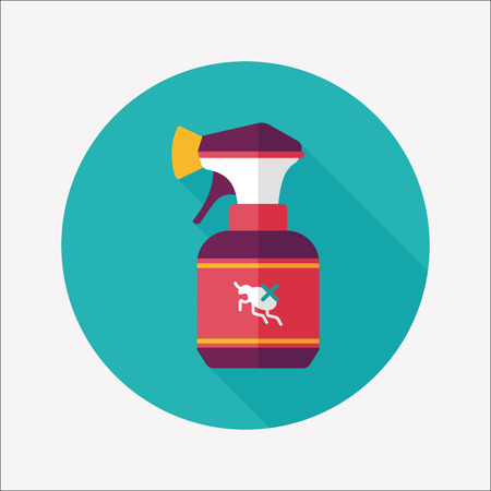 insecticide: Pet flea spray flat icon with long shadow Illustration