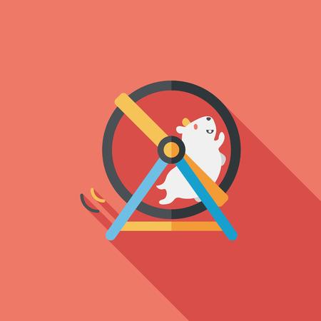 Pet Maus Übung Rad flach Symbol mit langen Schatten Vektorgrafik