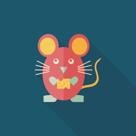 mouse cage: Pet mouse cage flat icon with long shadow