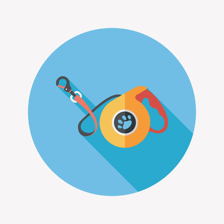 dog leash: Pet dog lead flat icon with long shadow Illustration