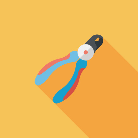 clippers: Pet nail clippers flat icon with long shadow
