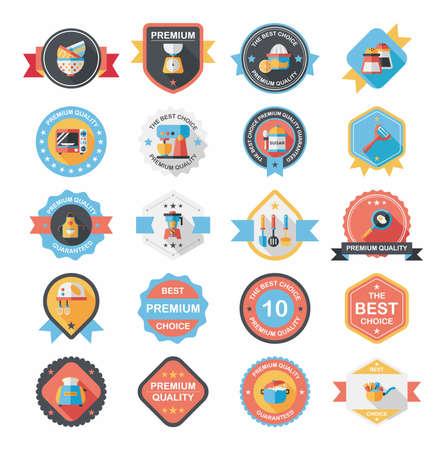 Kitchenware badge flat banner design background set Illustration