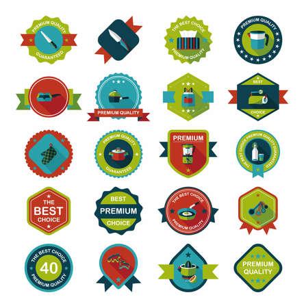 measuring spoon: Kitchenware badge flat banner design background set Illustration