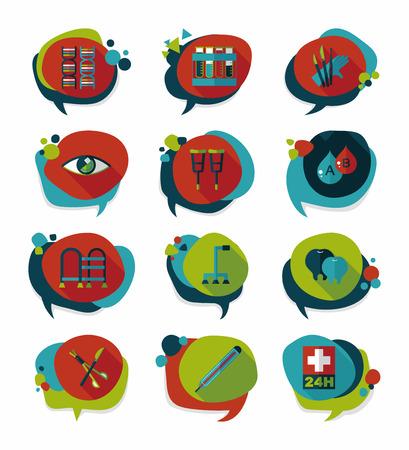 speech bubble hospital: hospital bubble speech banner design flat background set, eps10