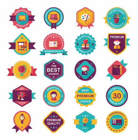 School badge banner design flat background set, eps10 Vector