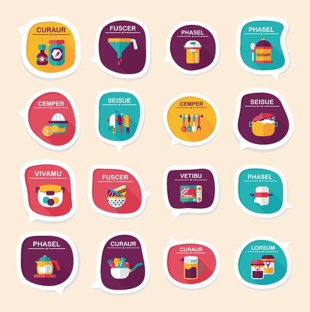measuring spoon: Kitchenware bubble speech flat banner design background set, eps10