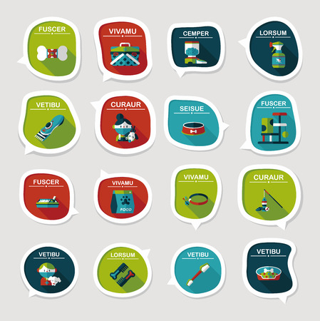 feeder: Pet bubble speech flat banner design background set, eps10