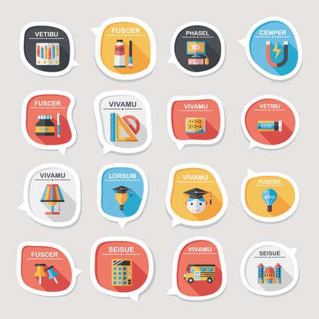 School bubble speech banner design flat background set, eps10 Vector