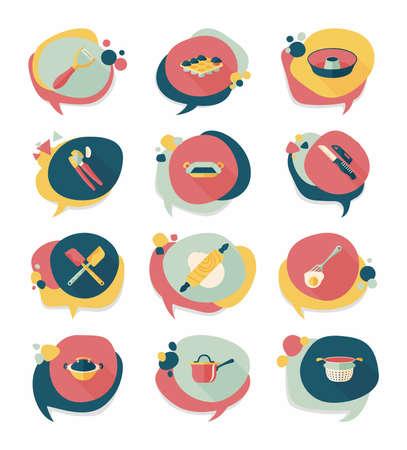measuring spoon: Kitchenware badge flat banner design background set, eps10