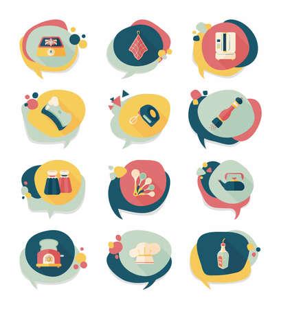 house ware: Kitchenware badge flat banner design background set, eps10