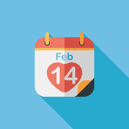 14 feb: Valentines Day February fourteen flat icon with long shadow,eps10 Illustration
