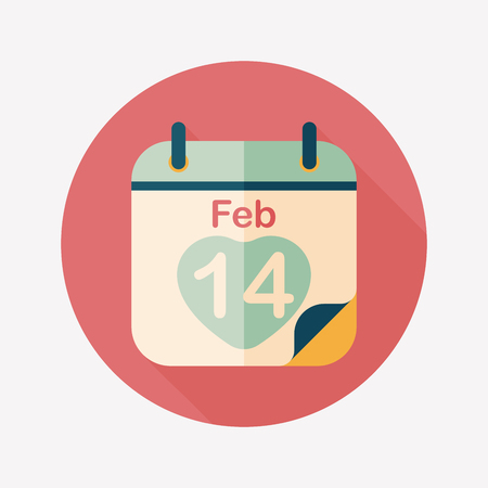 Valentines Day February fourteen flat icon with long shadow,eps10 Vector