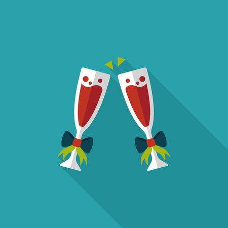 brindisi spumante: Giorno champagne icona piatto di San Valentino con una lunga ombra, eps10