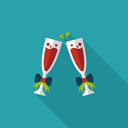 champagne toast: Valentines day champagne flat icon with long shadow,eps10