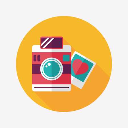Valentines Day photo flat icon with long shadow,eps10 Vector