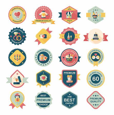 valentino: Valentine's Day badge flat banner design background set, eps10 Illustration