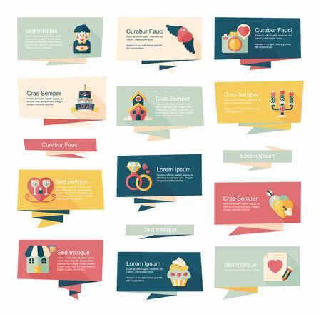 valentino: Valentine's Day banner flat design background set, eps10