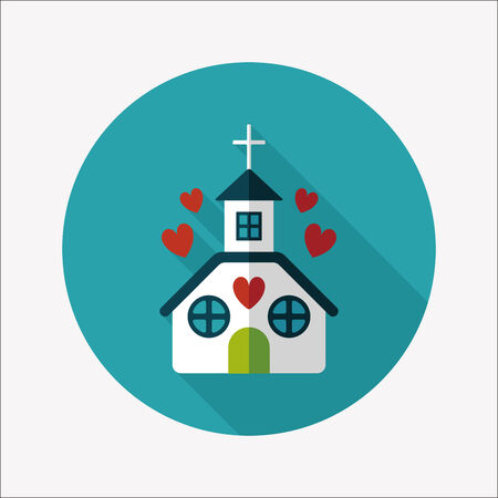 Valentines Day wedding church flat icon with long shadow,eps10