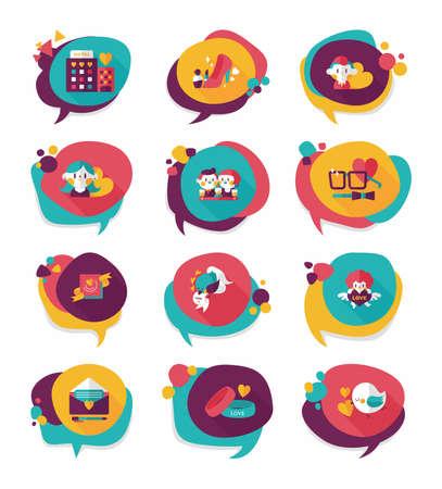Valentine's Day speech bubble banner flat design background set, eps10 Vector