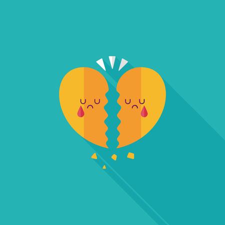 heart break: Valentines Day broken heart flat icon with long shadow,eps10 Illustration