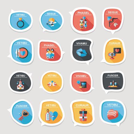 Valentine's Day speech bubble banner flat design background set, eps10 Ilustracja