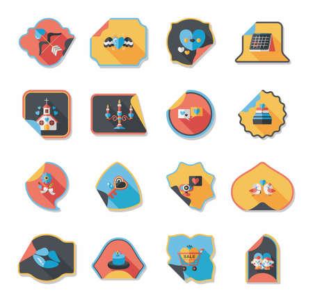 valentino: Valentine's Day sticker banner flat design background set, eps10